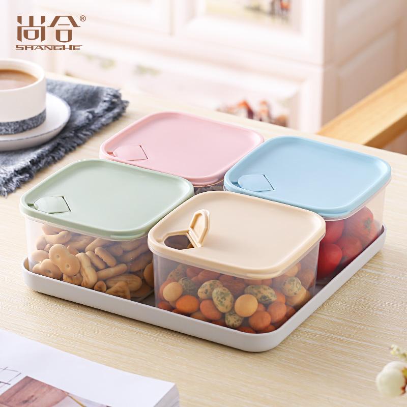 客厅密封分格糖果盒带盖干果盘糖果盘零食盒瓜子盘家用创意水果盘