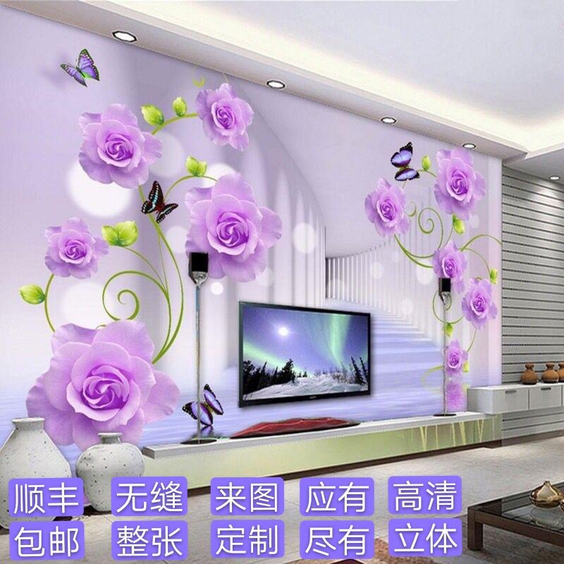 3d立体简约自粘玫瑰花壁纸5d壁画客厅墙布电视背景墙纸8d影视墙
