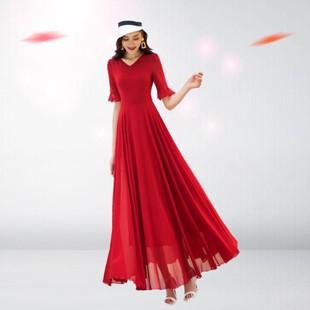 西藏旅遊衣服女士大理紅色長裙雲南麗江拍照出遊超仙活躍連衣裙夏