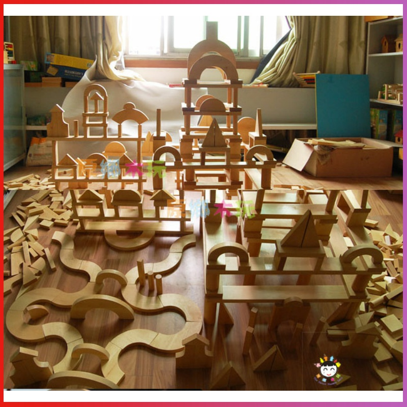 幼儿园超大型实木实心积木大块原木质建构拼装搭建木头制儿童玩,可领取20元天猫优惠券