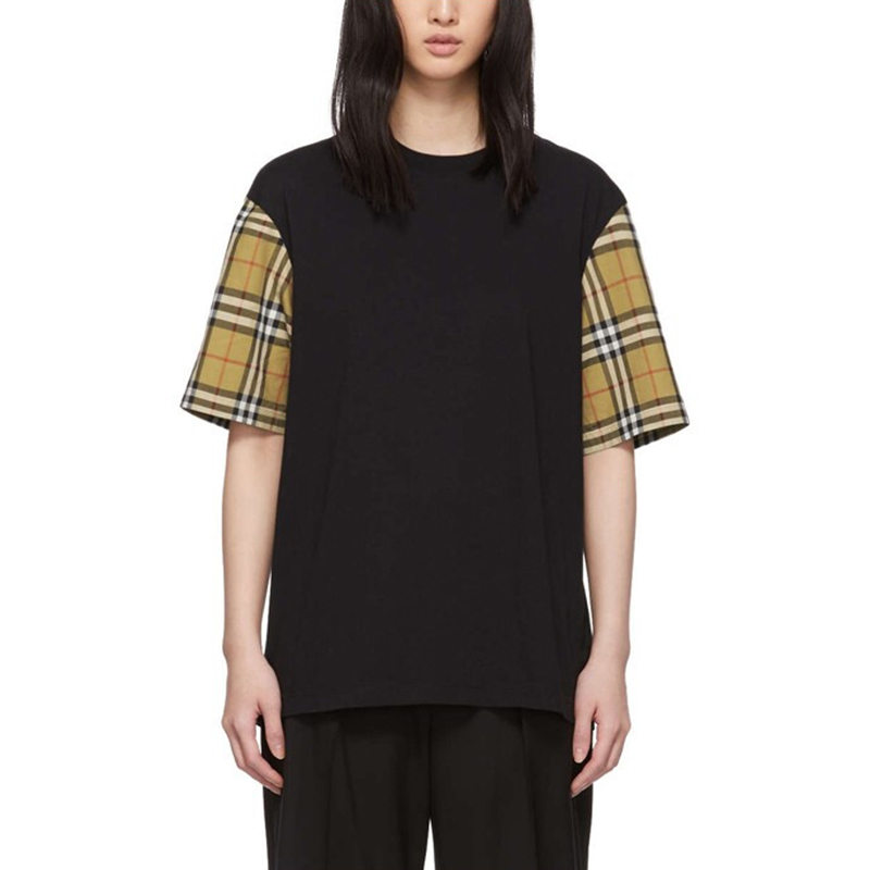 Authentic Burberry / Burberry womens classic Plaid sleeve round neck cotton short sleeve T-shirt womens 8014895