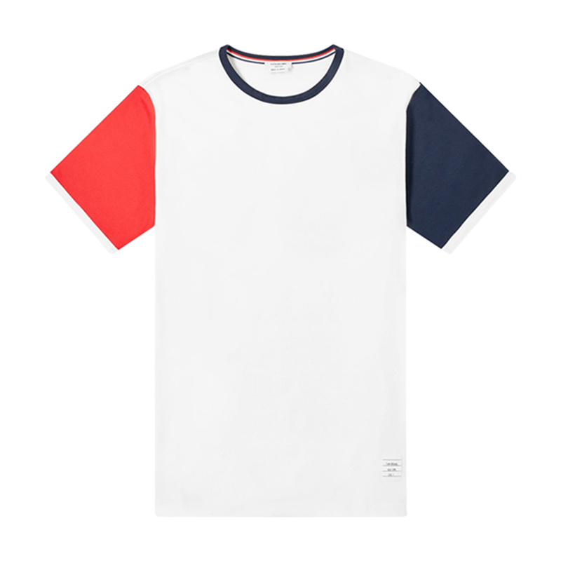 Genuine Thom Browne short sleeve t-shirt mens new round neck color matching mens top cotton casual mens wear