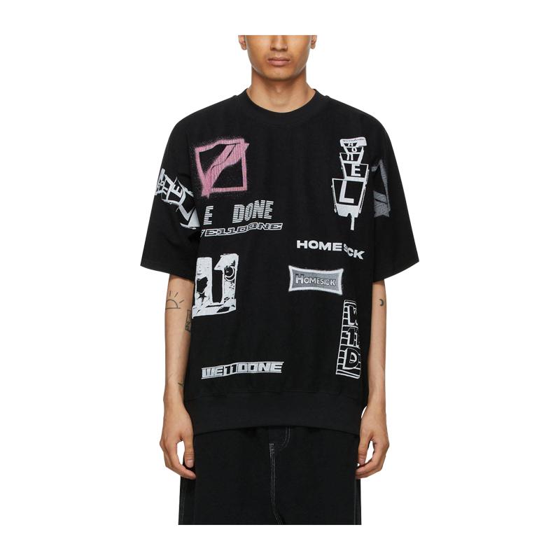 We11 done multi color printed cotton black neutral T-shirt # wdtt121515 black