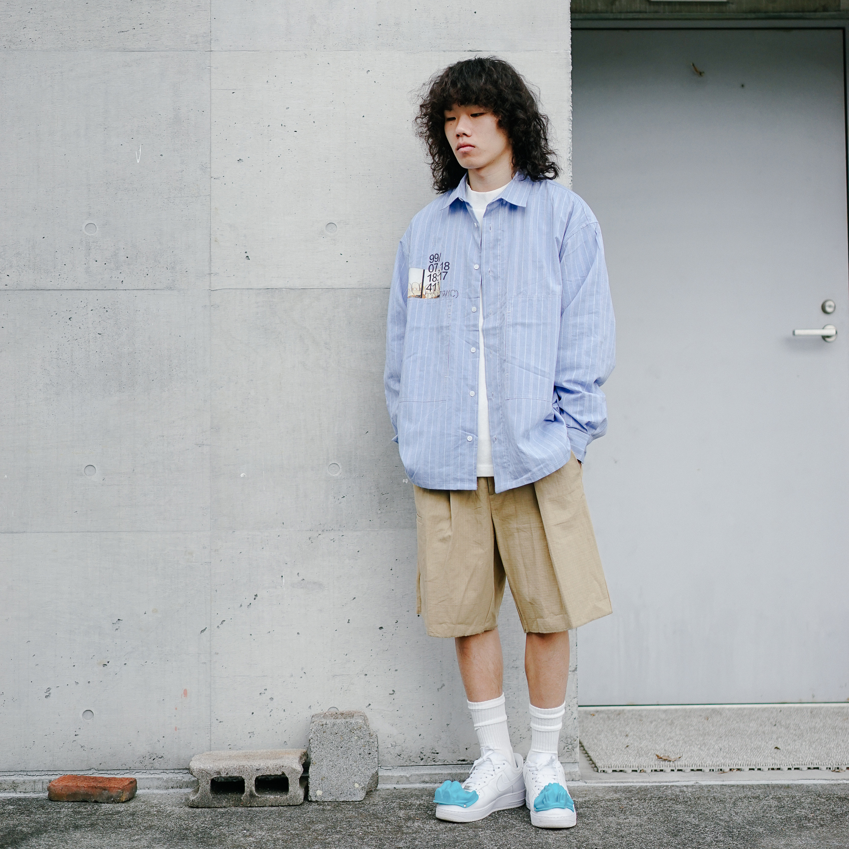 Tdnw (c) 19aw new light blue stripe long sleeve shirt double pocket loose casual Japanese trend