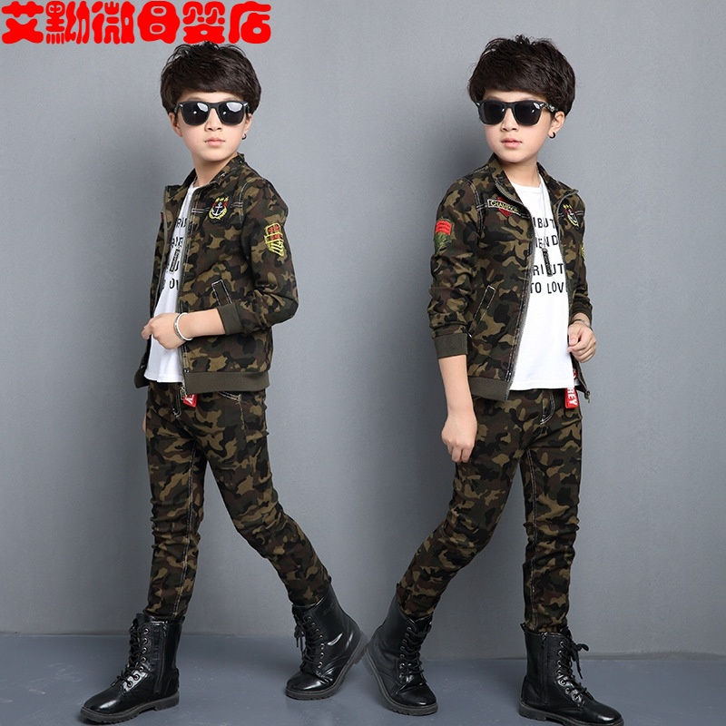 New boys and girls camouflage suit 2019 childrens autumn uniform military sports spring Korean version