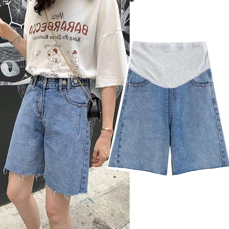 高档孕妇牛仔短裤夏季时尚外穿宽松阔腿裤毛边托腹休闲裤薄款五分