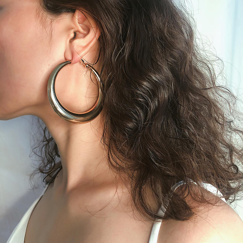 Hoop Style Oval Earrings European and American ins simple geometry fashion large circle round metal Earrings accessories