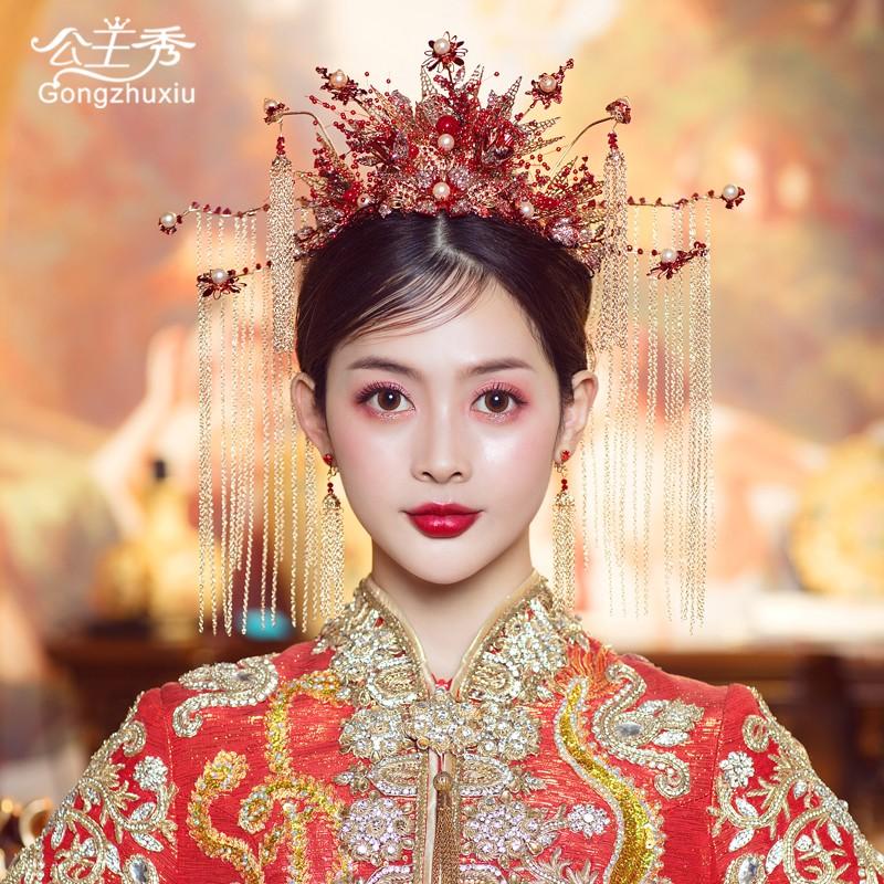 秀禾头饰2021新款红色大气发饰新娘结婚礼秀禾服凤冠秀和中式造型