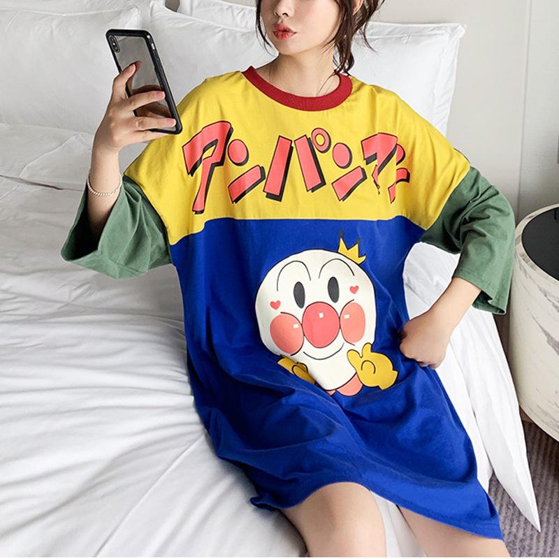 日系面包小超人睡裙女春秋季薄款宽松卡通可爱长袖纯棉睡衣家居服