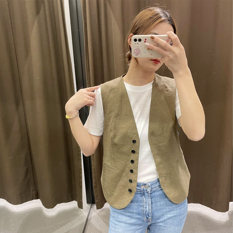 Europe 4 US foreign trade month 2021 spring and summer womens new H temperament slim straight single breasted suit vest