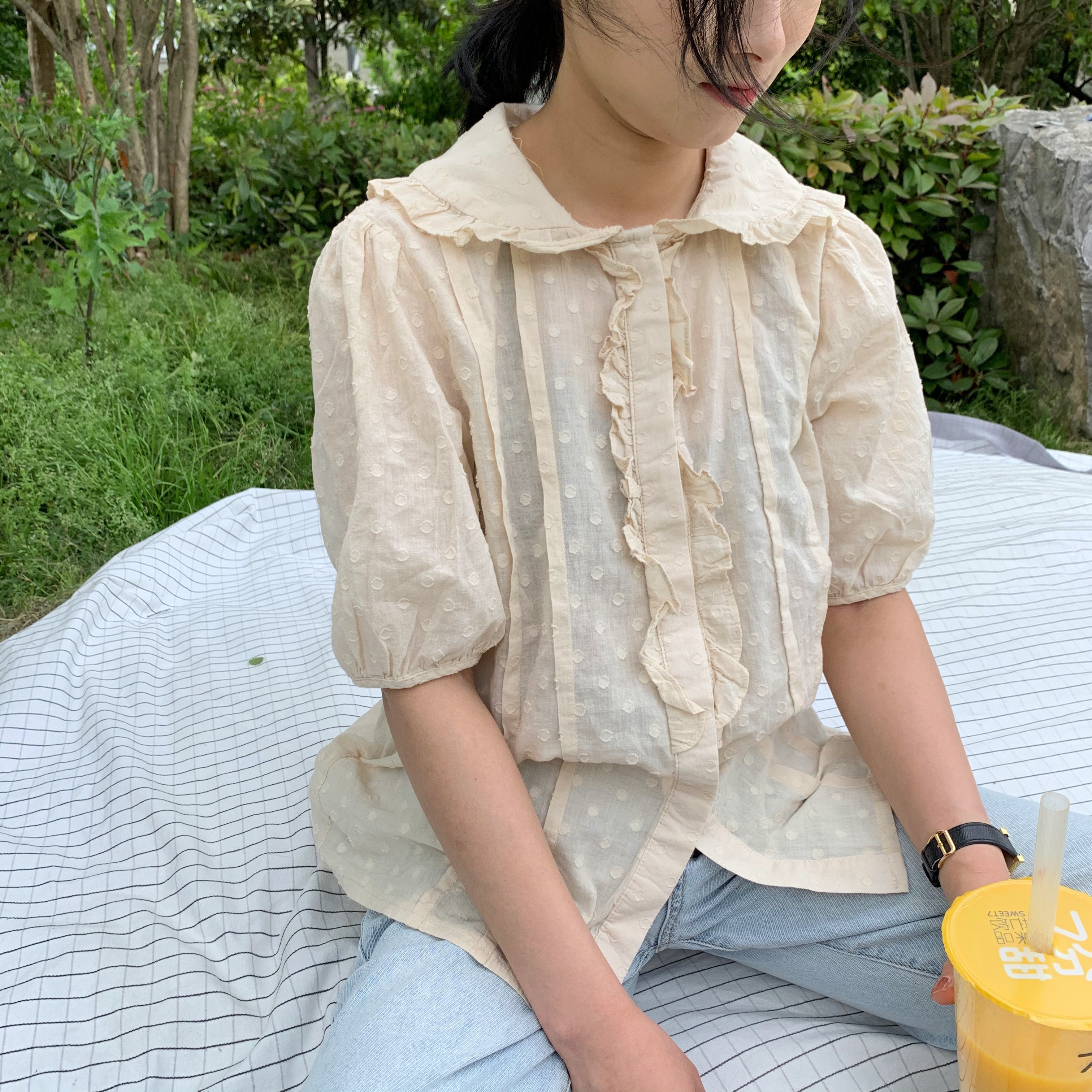 Shirt Short Sleeve womens small fresh fungus lotus leaf lace retro sweet baby collar bubble sleeve aging lace temperament