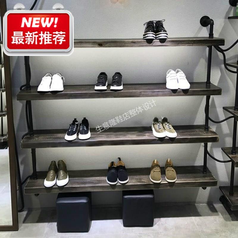 而美复古鞋店鞋架展示架多层上墙货架男女装包包店店铺实n木铁艺图片