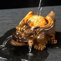 茶宠摆件蟾蜍招财喷水貔貅茶桌茶盘茶台茶具配件变色宠物可养金蟾