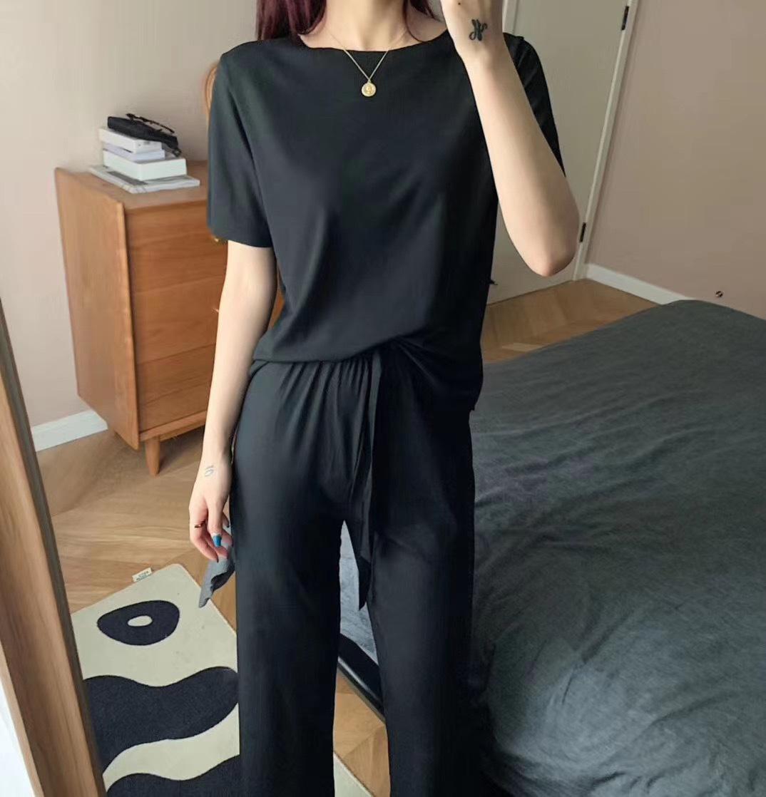 2021新款女休闲短袖长裤纯色宽松时尚冰丝阔腿裤女小港姐软软套装