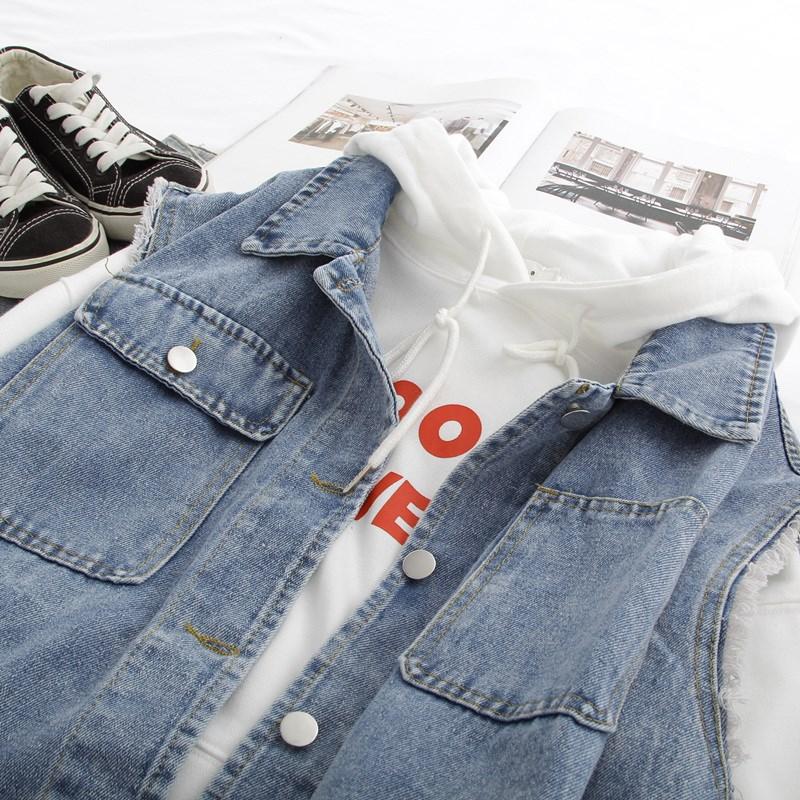 Denim Vest Jacket Womens spring and autumn 2020 new Korean loose tooling big size sleeveless vest