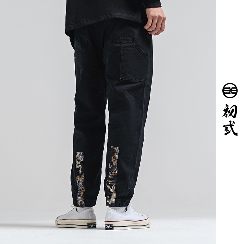 Dragon Phoenix silk 2021 spring new Chinese style personality casual pants