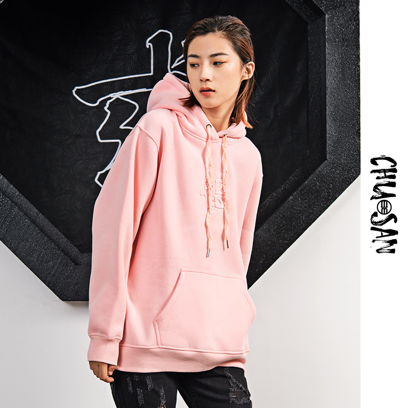 Chu San good and evil Chu San national trend basic solid color Pullover long sleeve sweater Street couple T-shirt
