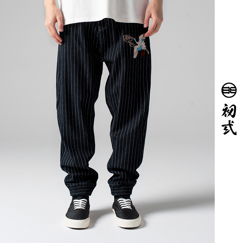 Chusan crane with cloud 2021 New National Style Embroidered casual pants Street personality hip hop striped pants men