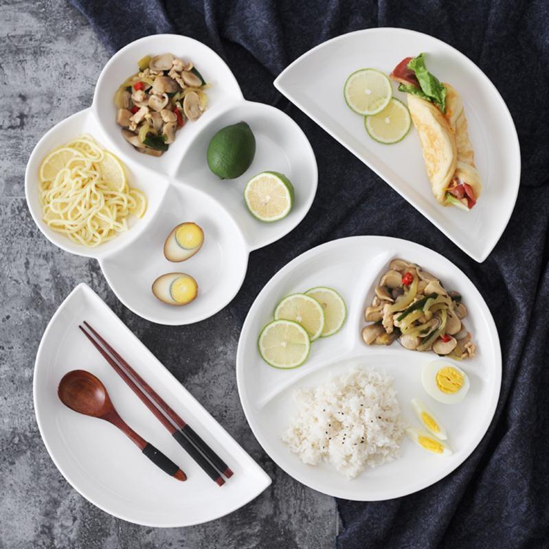 自助餐调味分学生格碟子餐盘四格快餐陶瓷小号中式家用西式吃饭