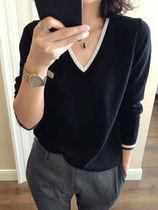 秋冬新款V领仿绒衫女宽松纯色长袖拼色毛衣大码针织打底羊毛衫