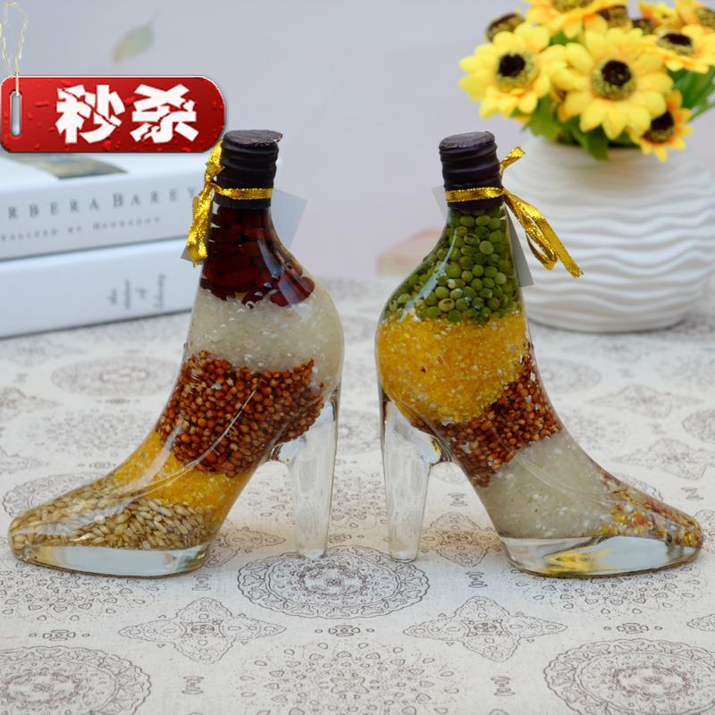 Decoration bottle wine cabinet creative home garden high heels shop clothing shop modern ornament Wugu efeng glass