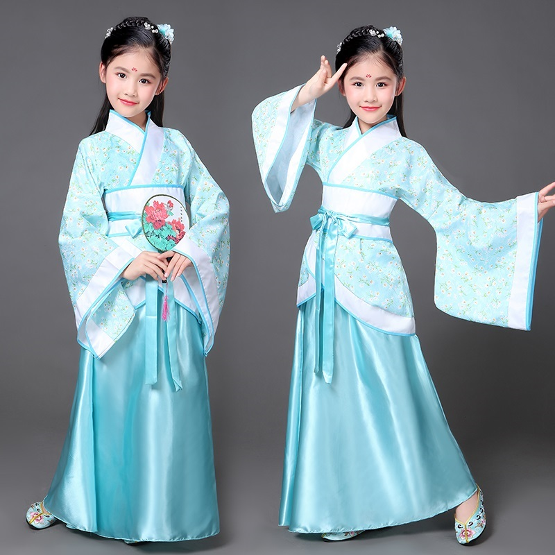 . Parent-child summer dress etiquette kindergarten girl spring clothes Chinese style Hanfu Tang suit blue