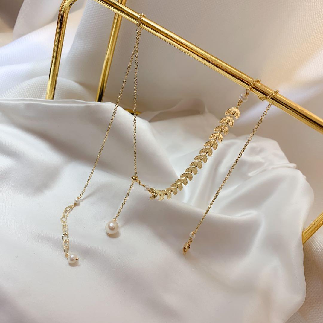 十里间 枫叶/14K包金珍珠项链吊坠锁骨链可调节简约