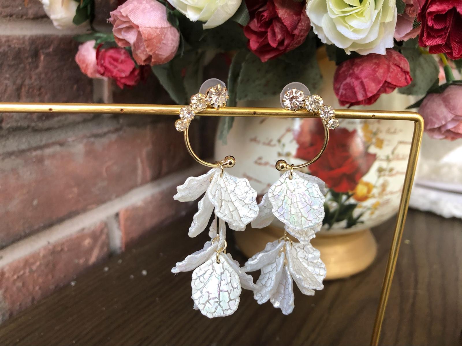 十里间 贝壳花瓣造型流苏长款耳环网红度假风女个性夸张流行饰品