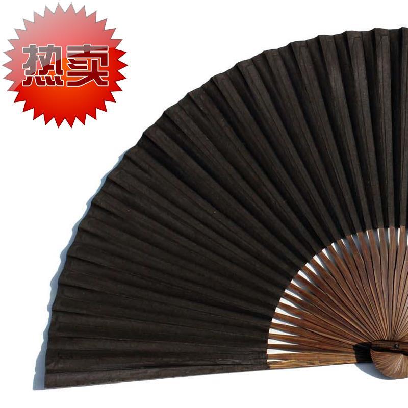 绍兴传统扇子 全棕扇工艺r毛全本黑纸折扇 戏曲曲艺用黑扇子
