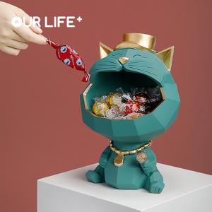 招财猫收纳摆件玄关钥匙轻奢装饰创意电视柜乔迁新居礼品结婚礼物