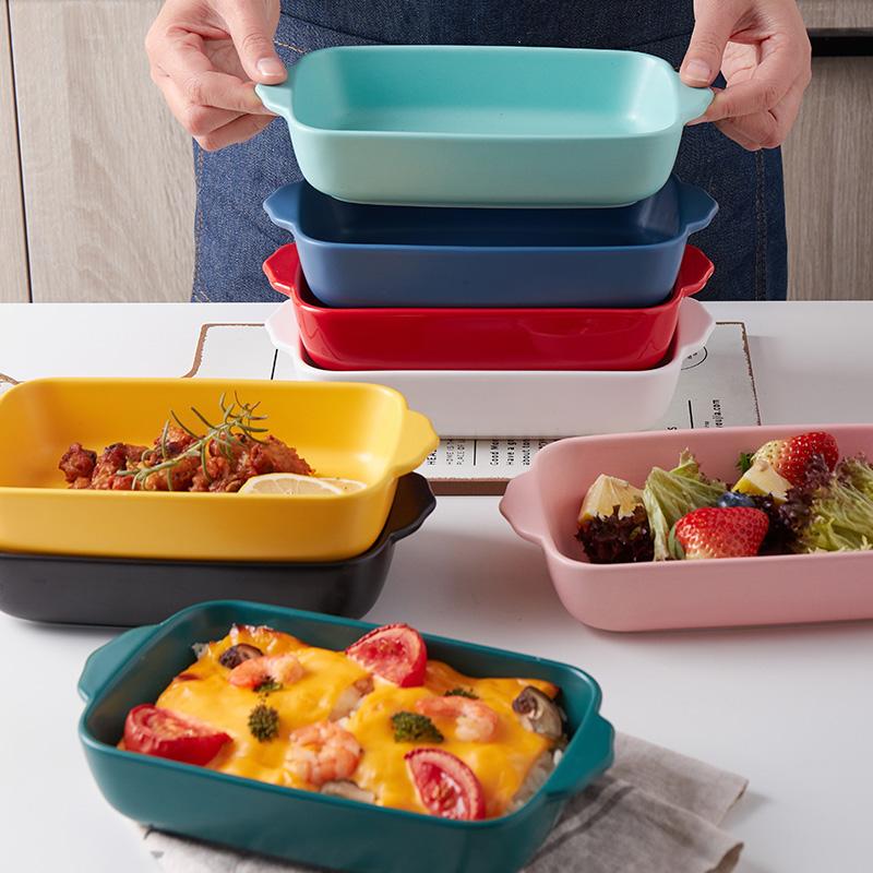 创意芝士焗饭盘陶瓷双耳长方形盘微波炉烤箱专用烤盘家用烘焙烤碗