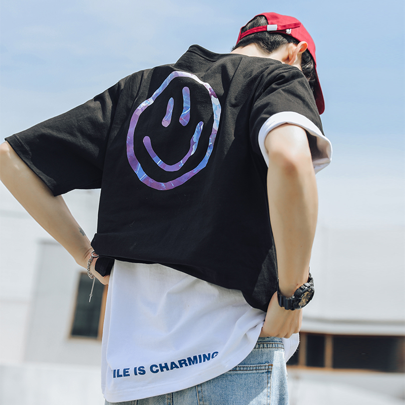 Shi Zhuo Chao brand 2020 summer new oil painting smiling face design Short Sleeve mens Japanese and Korean loose T-shirt