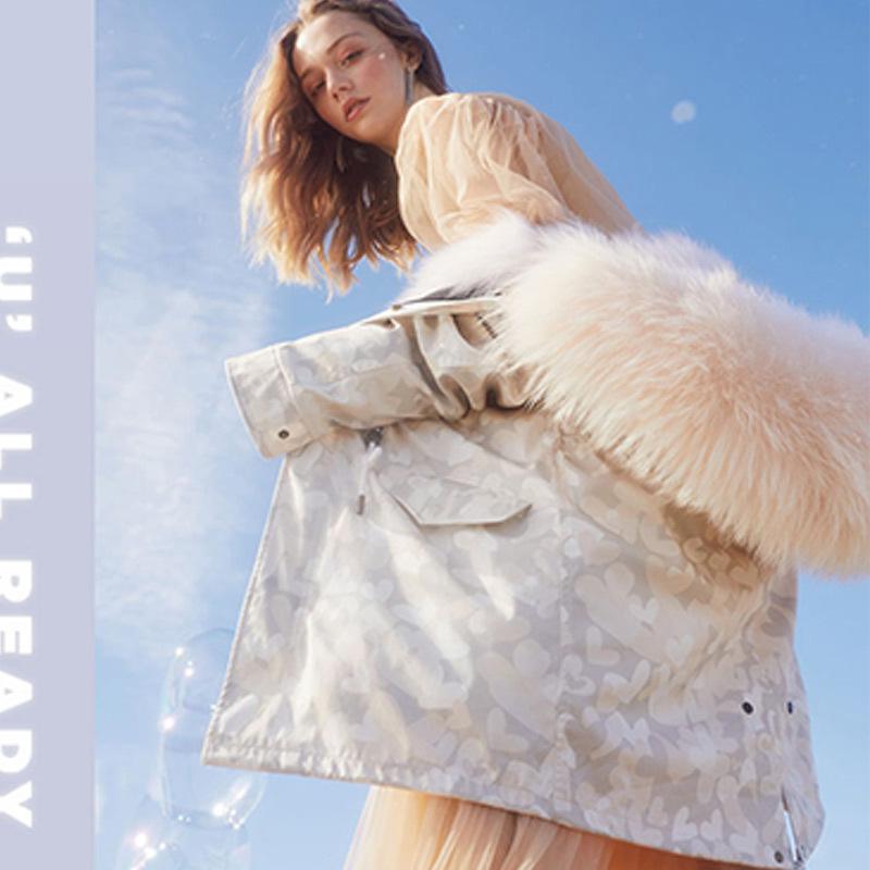 【15个工作日发】OZLANA 派克大衣长款派克服外套可替换皮草外壳