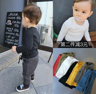 辰辰媽嬰童裝嬰兒童純色打底衫男童上衣體恤寶寶長袖T恤女童春季