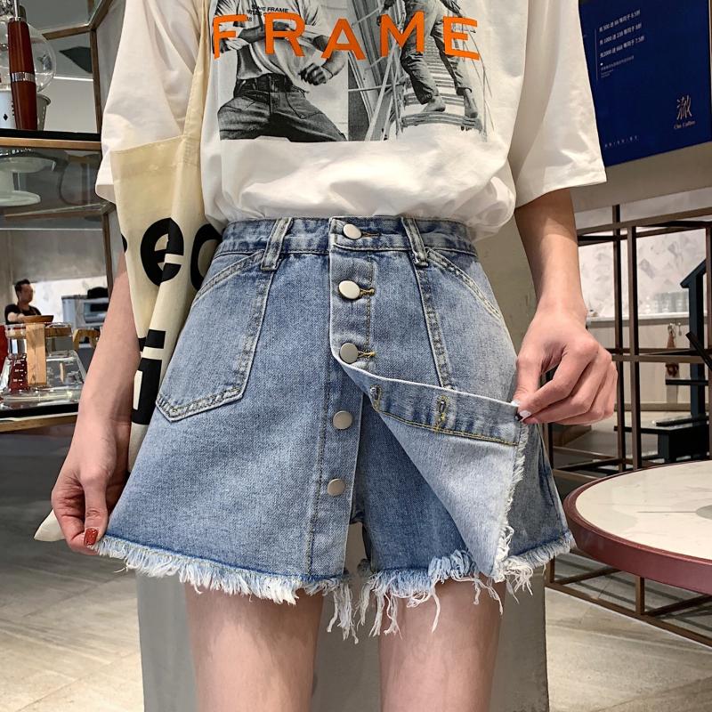 假两件牛仔短裤女春秋2020新款韩版大码胖mm宽松显瘦百搭裤裙ins