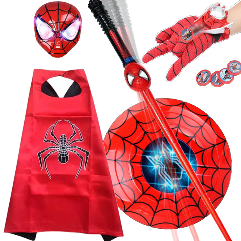 Childrens spider man suit Cape mens Halloween shield lightsaber mask gloves school performance costume props