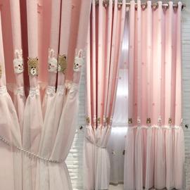 可爱粉色卡通双层儿童房窗帘温馨女孩房遮光布卧室韩式公主风成品