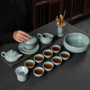 龙泉功夫茶具套装盖碗泡茶套装家用陶瓷茶壶茶杯套装青瓷整套