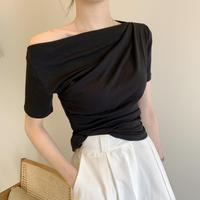 短袖t恤女2020夏季新款黑色露肩气质洋气修身百搭一字肩上衣ins潮