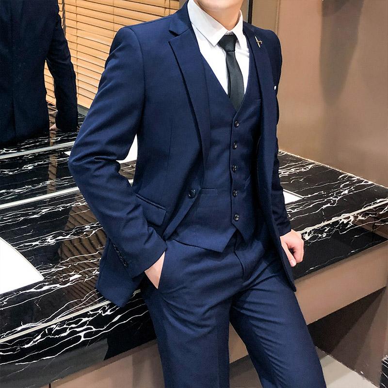 西服套装男士修身帅气结婚新郎伴郎礼服春秋新款韩版潮流职业西装