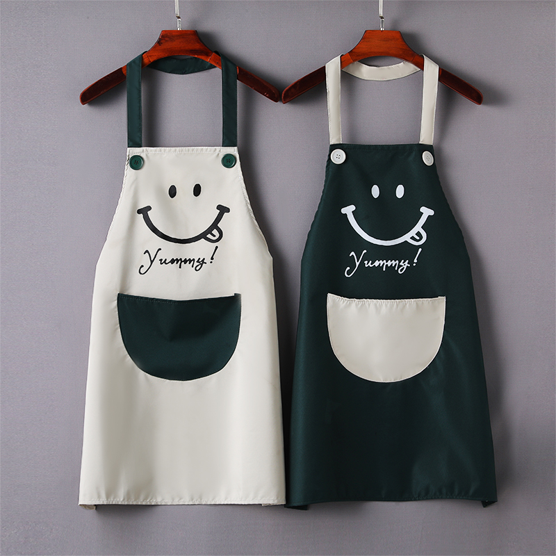 Can wipe hands smile face fashion thin apron household kitchen waterproof Lovely Japanese Korean work clothes male adult