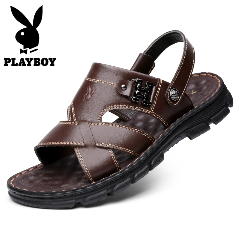 Playboy sandals male summer wear leather soft sole antiskid dad mens Beach Leather Sandals