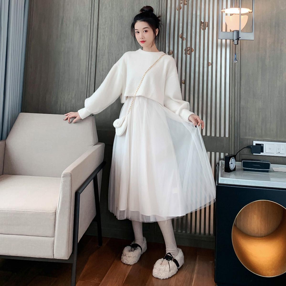 秋冬季中长款气质连衣裙毛衣配网纱吊带裙子两件套装仙女过膝长裙