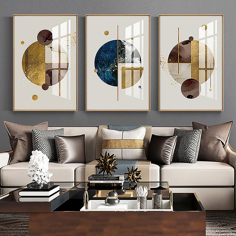 北欧风客厅装饰画现代轻奢沙发背景墙面挂画卧室餐厅墙壁画三联画