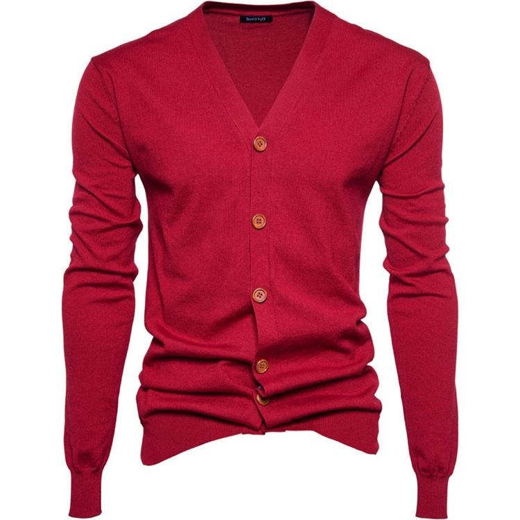 Autumn and winter mens college basic solid color bottomed sweater knitted cardigan