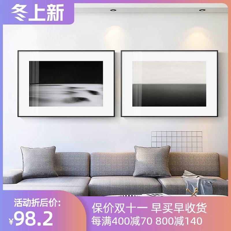 现代极简摄影海景客厅走廊风背景墙