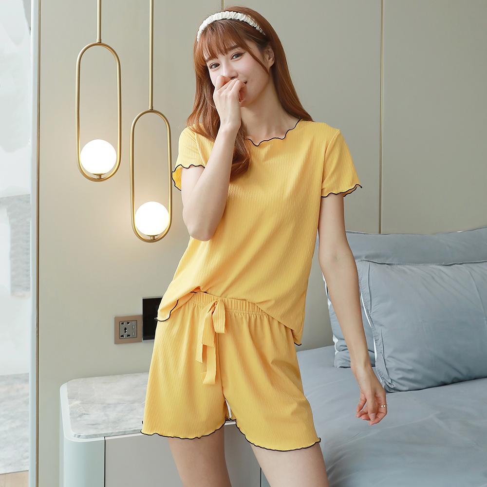 睡衣女夏季2021年新款冰丝薄款短袖短裤网红爆款大码家居服套装