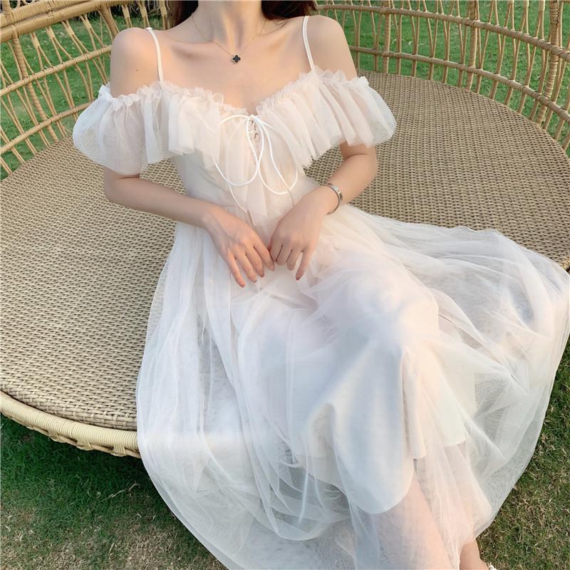 泰国海边度假沙滩裙女马尔代夫chic超仙网纱过膝吊带连衣裙长裙夏