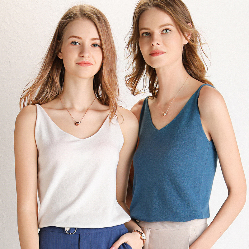 New summer knitted suspender vest womens V-neck summer new womens tight inner layer with backless sleeveless outer wear