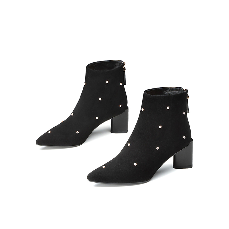 Jer Harlow workplace womens shoes autumn and winter black short tube high heel short boots thick heel fashion boots j24af06288pa